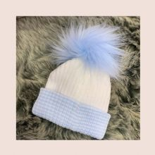 First Size Blue And White Ribbed Fur Pom Pom Hat
